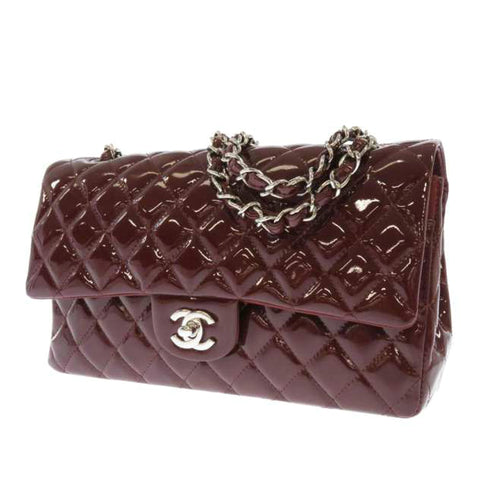 Chanel Red Classic Medium Patent Leather Double Flap Bag
