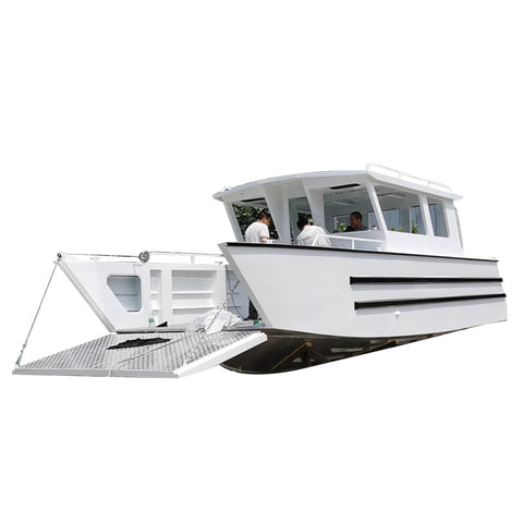4 tons loading capacity aluminum full cabin open sea work barge boat landing craft for sale
