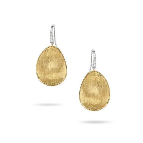 Luxury Marco Bicego Lunaria Collection Diamond Pave Medium French Wire Earrings in 18K Yellow Gold