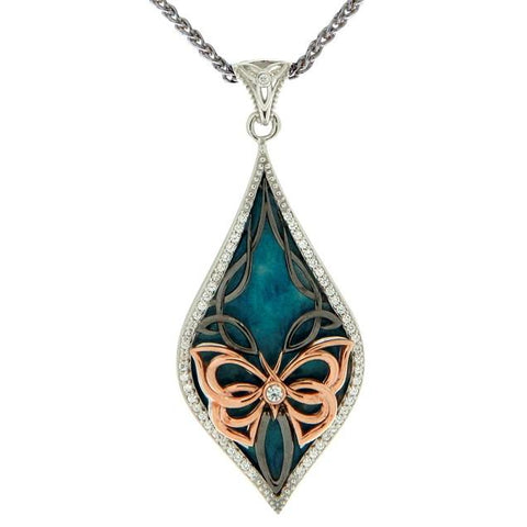 Luxury Enamel Butterfly Pendant - Ruthenium and Rose Gold