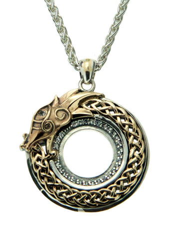Luxury Golden Norse Forge Dragon Pendant - White Sapphire
