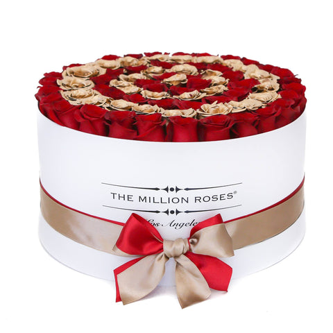 Red & 24K Gold (Target) Roses | Deluxe White Box