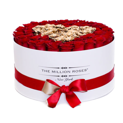 Red & 24K Gold (Heart) Roses | Deluxe White Box