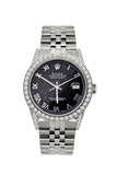 Rolex Datejust Diamond Watch, 36mm, Stainless Steel Black Rolex Dial w/ Diamond Bezel and Lugs