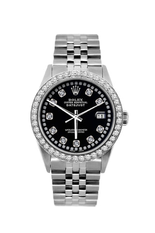 Rolex Datejust Diamond Watch, 36mm, Stainless Steel Black Dial w/ Diamond Bezel