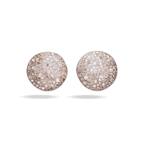 Luxury Pomellato Sabbia Earrings with White and Champagne Diamonds