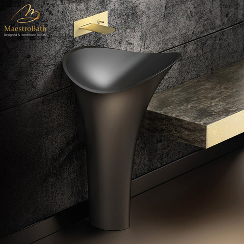 Calla Lily Modern Freestanding Bath Sink | Black