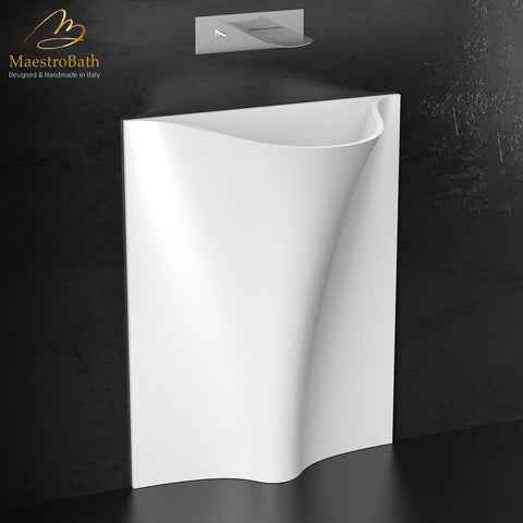 Designer Freestanding Bathroom Sink | White