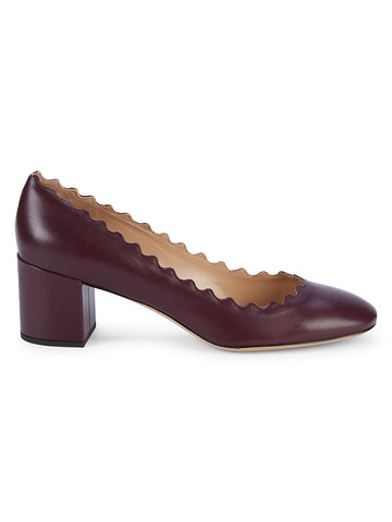 Chloé Scalloped-Edge Leather Pumps