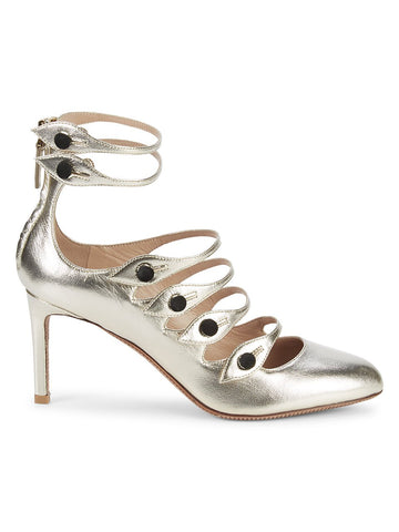 Valentino Garavani Metallic Leather Strappy Pumps