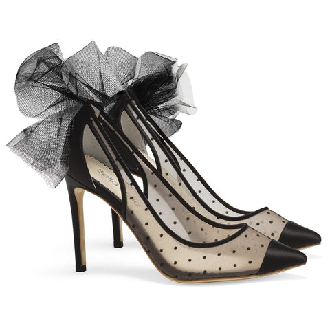Style Black Polka Dot Pump with Tulle Bow