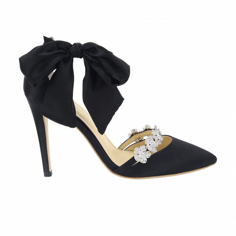 Style Bow and Jeweled Black Evening Heel by Liv Hart