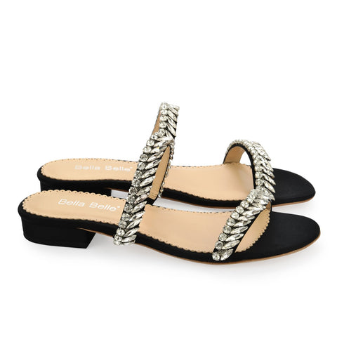 Style Crystal Jewel Black Evening Sandals