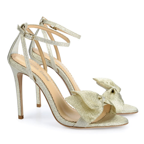 Style Gold Bow Evening Shoes
