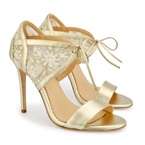 Style Lace Gold Evening Shoes