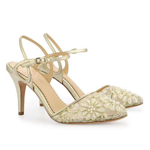 Style Low Heel Lace Gold Evening Shoes