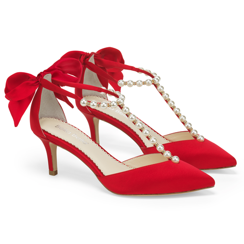 Style Pearls And Red Bow Kitten Heel