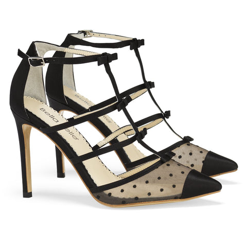 Style Polka Dot and Ribbons Black Heel