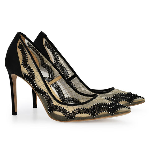 Style Scalloped Embroidered Black Evening Pumps