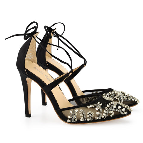 Style Sexy Embellished Black Evening Shoes