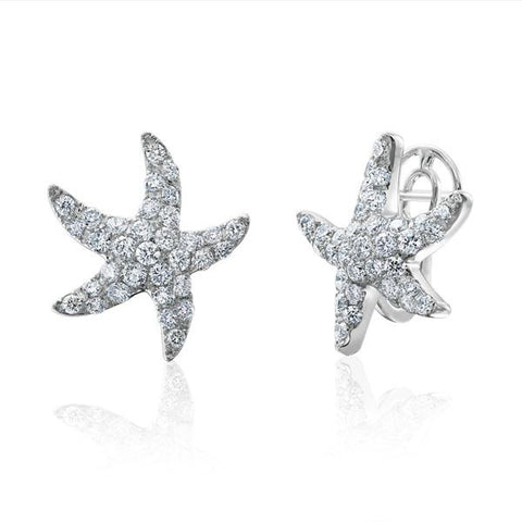 Luxury Diamond Dream Signature Collection 18K White Gold Starfish Earrings With Pave Set Diamonds