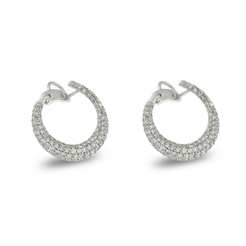 Luxury Signature 18K White Gold C-Shape Earrings With Diamonds