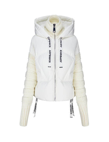 Fashion Khris Wool Sleeves Puffer Jacket