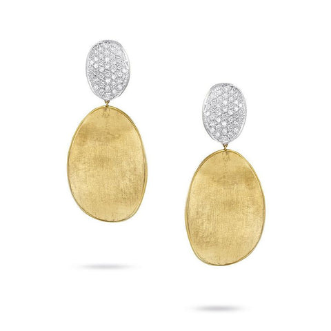 Luxury Marco Bicego Lunaria Collection Diamond Pave Medium Double Drop Earrings in 18K Yellow Gold