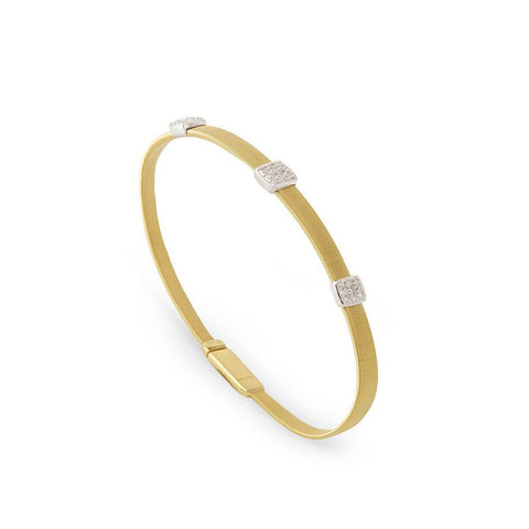 Luxury Marco Bicego Masai 18K Three Station Diamond Bracelet in Yellow Gold