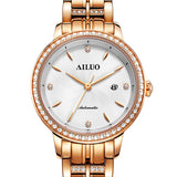FRANCE Women's Watches Luxury Brand AILUO Japan Automatic Mechanical Wristwatch Women Zircon Sapphire Crystal Waterproof A6111