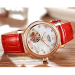 FRANCE Luxury Brand AILUO Women's Watches Leather Strap Japan Automatic Mechanical Wristwatch Women Sapphire Crystal Clock A6081