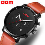 DOM Mens Watches Top Brand Luxury Fashion Chronograph Male Waterproof Clock Leather Sport Military Men Wristwatch M-1216BL-1M5
