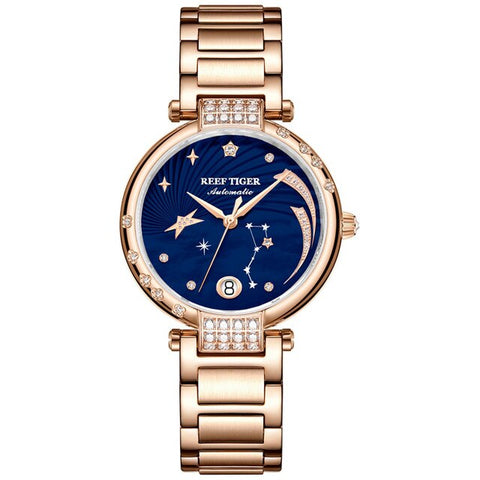 Reef Tiger/RT Top Brand Elegant Self Winding Womens Watch Date Rose Gold Diamond Watches Blue Bracelet Watches RGA1592