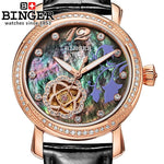 Switzerland Binger Women'S Watches Fashion Luxury Watch Leather Strap Automatic Winding Mechanical Wristwatches B-1132L-4