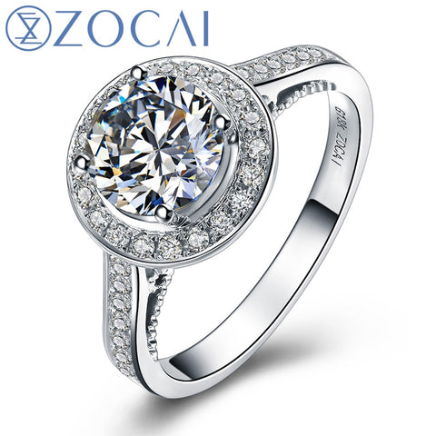 "ZOCAI BRNAD MY LOVE ""3.0 CARAT EFFECT"" 1.25 CT CERTIFIED G / VS1 18K WHITE GOLD DIAMOND ENGAGEMENT RING  W02779"