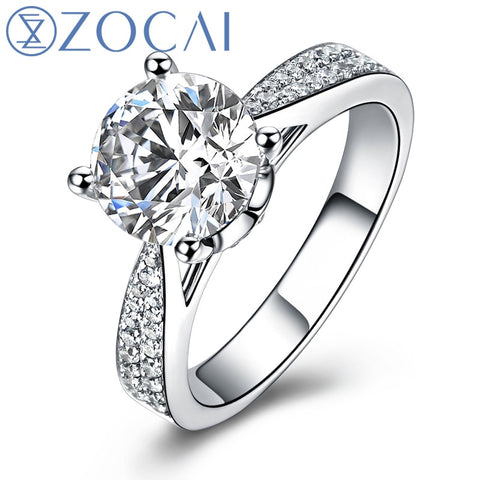 ZOCAI ring For Love Real 1.0 CT GIA Certified F-G/SI Round Cut Diamond Engagement Women Ring 18K White Gold (AU750) W03404
