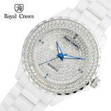 Ceramic Lady Women's Watch Japan Quartz Channel Setting Crystal Hour Fine Fashion Clock Luxury Girl's Gift Royal Crown