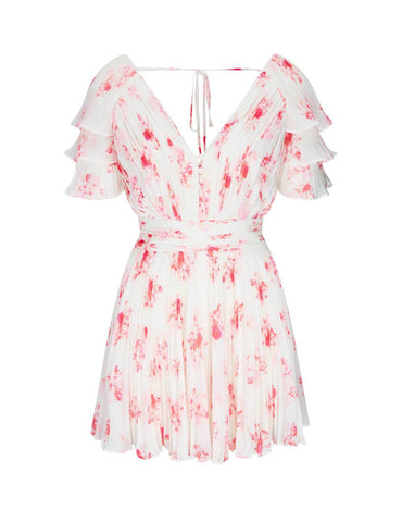 High-Quality Floral Print Chiffon Mini Dress