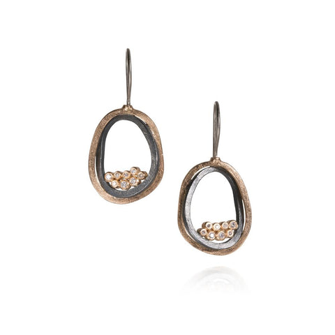 Luxury Todd Reed Earrings With Rose Cut Diamonds In 18k Rose Gold and Sterling Silver Patina