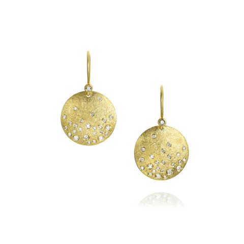 Luxury Todd Reed Disk Earrings With White Brilliant Cut Diamonds in 18k Yellow Gold