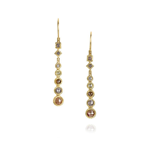 Luxury Todd Reed Dangle Earrings In 18k Yellow Gold With Rose Cut Diamonds