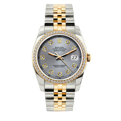 Rolex Datejust Diamond Watch, 36mm, Yellow Gold and Stainless Steel Bracelet Gray Dial w/ Diamond Bezel