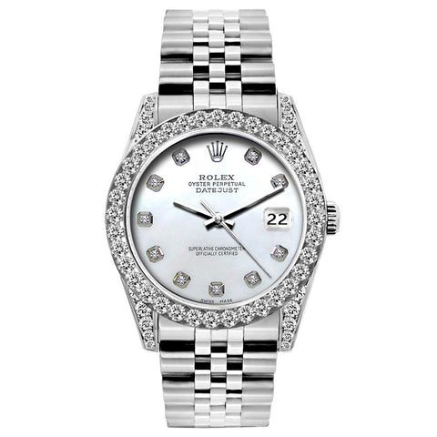 Rolex Datejust Diamond Watch, 26mm, Stainless SteelBracelet Blue Mother of Pearl Dial w/ Diamond Bezel and Lugs