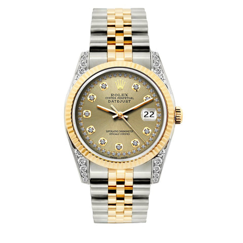 Rolex Datejust Diamond Watch, 36mm, Yellow Gold and Stainless Steel Bracelet Gold Dial w/ Diamond Lugs