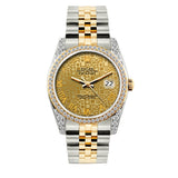 Rolex Datejust Diamond Watch, 36mm, Yellow Gold and Stainless Steel Bracelet Yellow Gold Dial w/ Diamond Bezel and Lugs