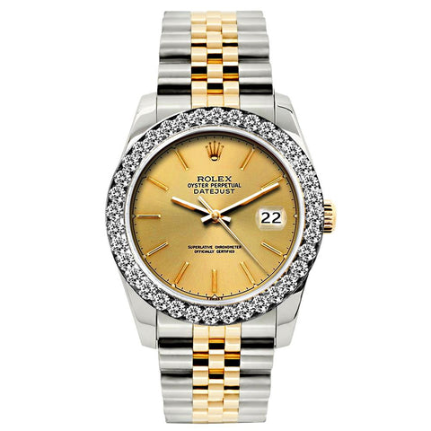 Rolex Datejust Diamond Watch, 26mm, Yellow Gold and Stainless Steel Bracelet Gold Dial w/ Diamond Bezel