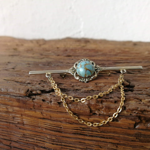 Vintage Brooch with Turquoise Stone