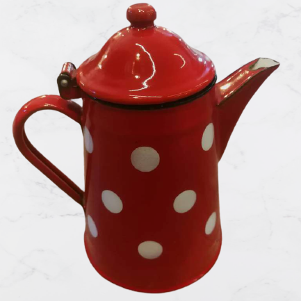 Red Vintage Teapot with White Dots