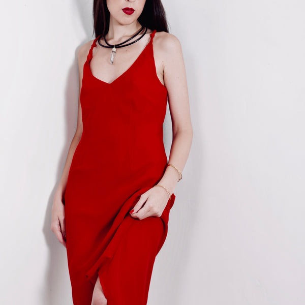 Long Red Vintage Dress / Crvena Vintage Haljina
