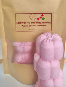 Strawberry Bubblegum Mint Shower Steamers | 4 pack |  8 pack